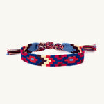 navy and red handwoven friendship bracelet