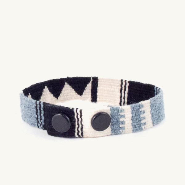 cinta snap bracelet in black and white with recycled denim