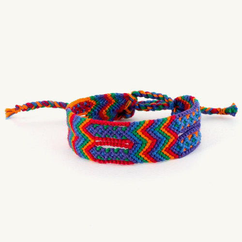 wide Guatemalan friendship bracelet bright