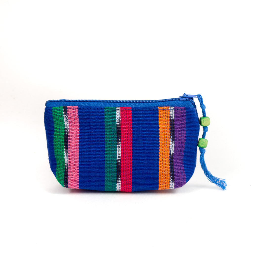 Colorful Striped Coin Purse blue