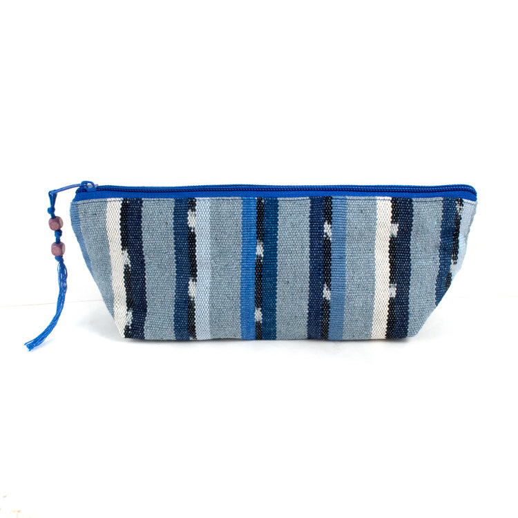 handwoven pencil case recycled denim