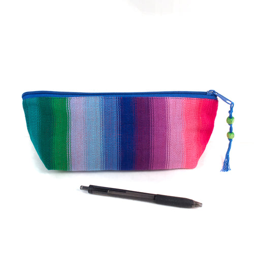 handwoven pencil case rainbow