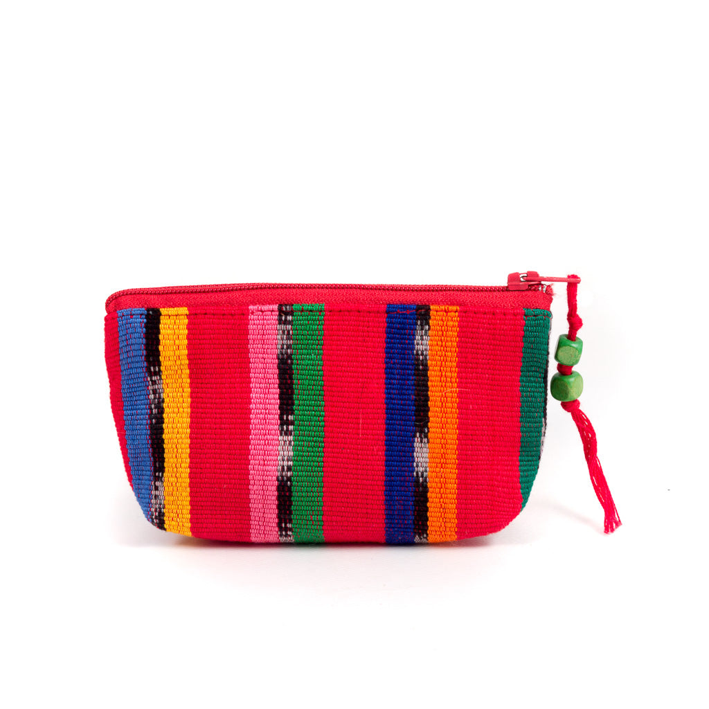 Colorful Striped Coin Purse red