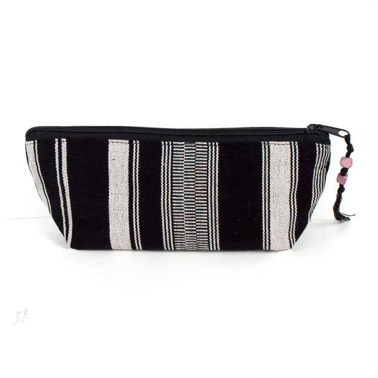handwoven pencil case black and white stripe