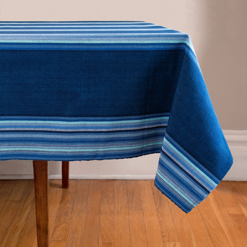 Tablecloth with stripes in blues and indigo