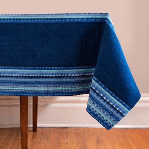 Handwoven Tablecloth with stripes in blues and indigo