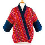 handwoven red and ikat pattern kimono style jacket