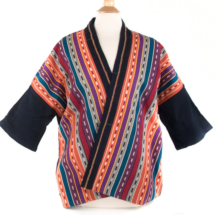 handwoven kimono style jacket earth tone colors