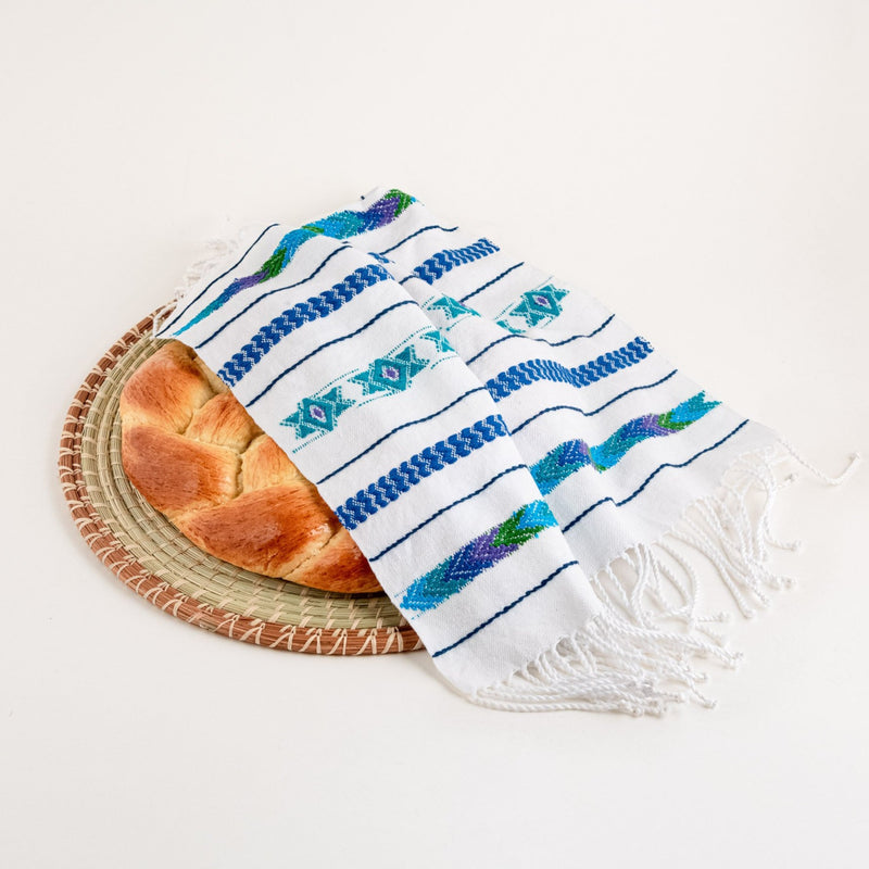 handwoven challah cover with challah
