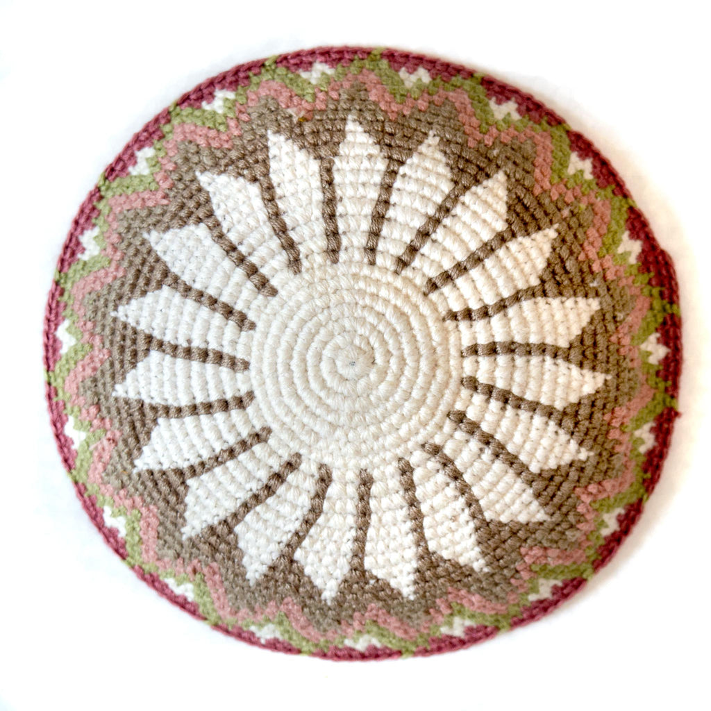 handmade fair trade kippah in soft pink and white tones