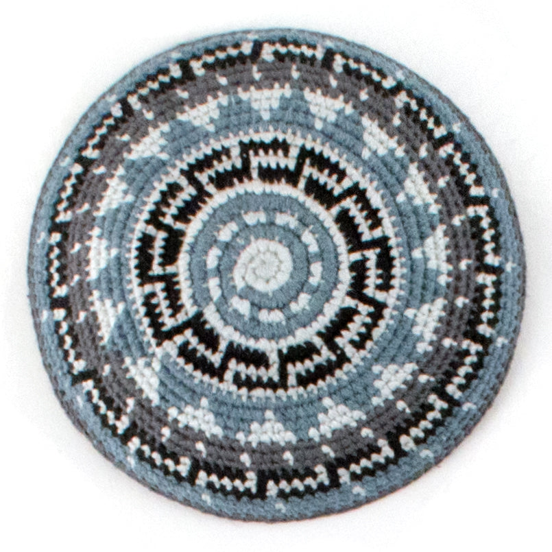 black, gray, and recycled denim crocheted yarmulke
