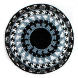 black and white crocheted kippah with recycled denim