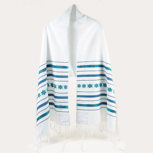 Handwoven tallit in white with blues