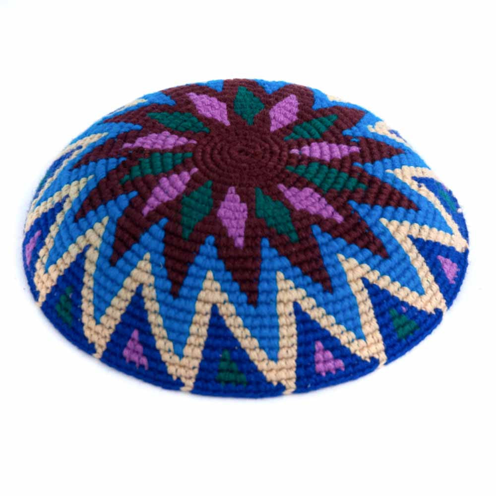crocheted fair trade kippah/yarmulke blue