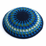 fair trade kippah blues and greens