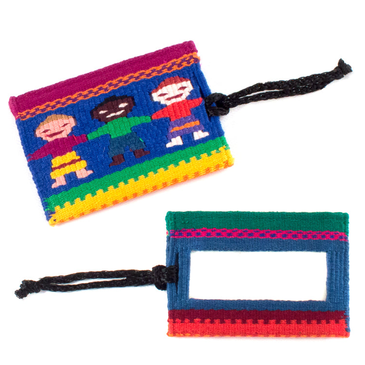 handwoven luggage tag, 3 children
