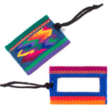 handwoven luggage tag, zigzag design