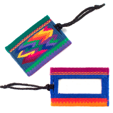 Handwoven Luggage Tag with Leather - Santiago Brocade