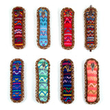 Handwoven Brocade and Leather Mezuzah - color choices