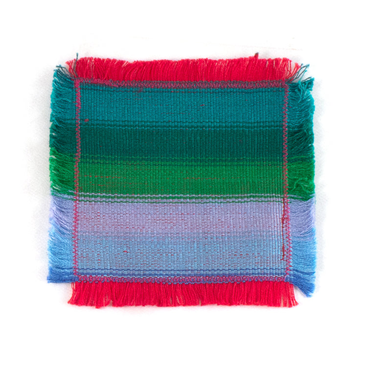 handwoven coasters, blue and green stripe
