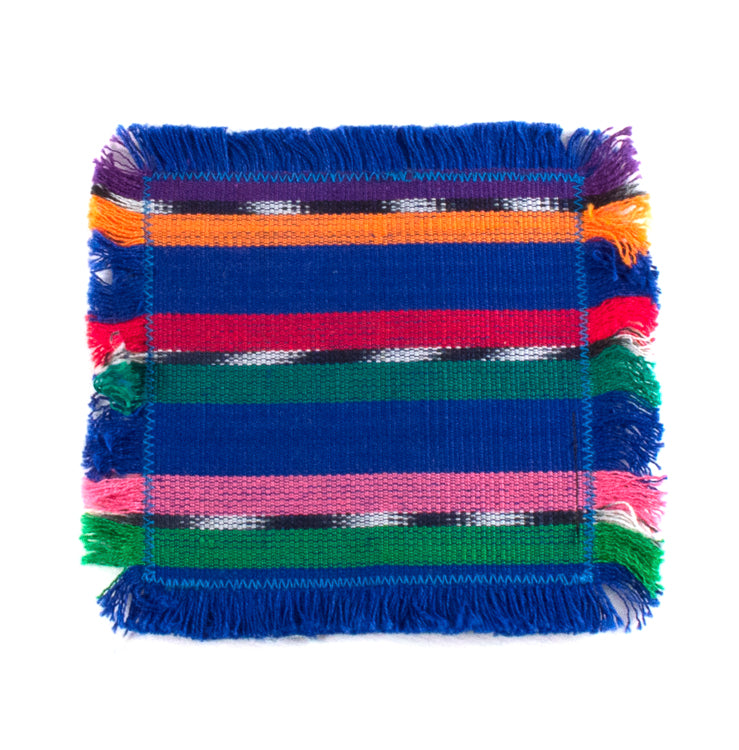 handwoven coasters, blue with colorful accents