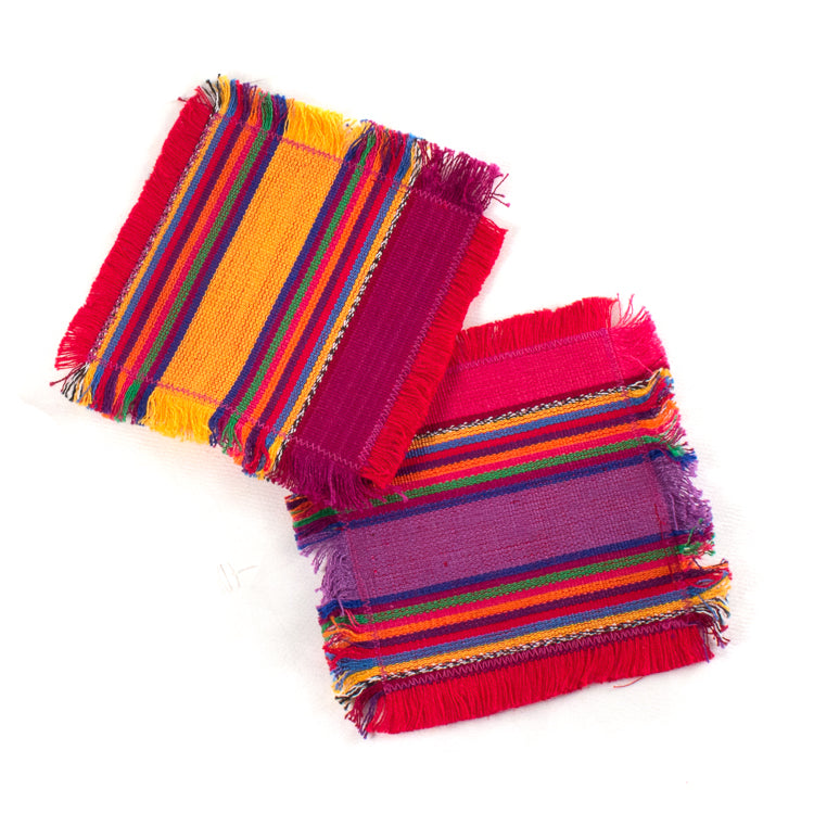 handwoven coasters, Guatemala fabric