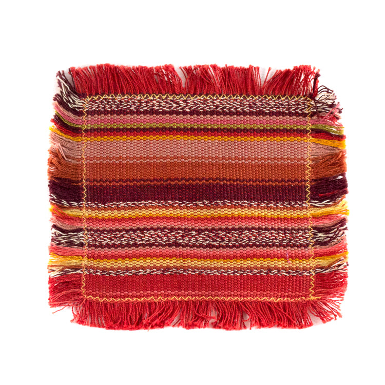 handwoven coasters in earth tones