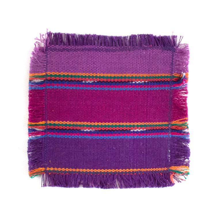 handwoven coasters, purple stripe