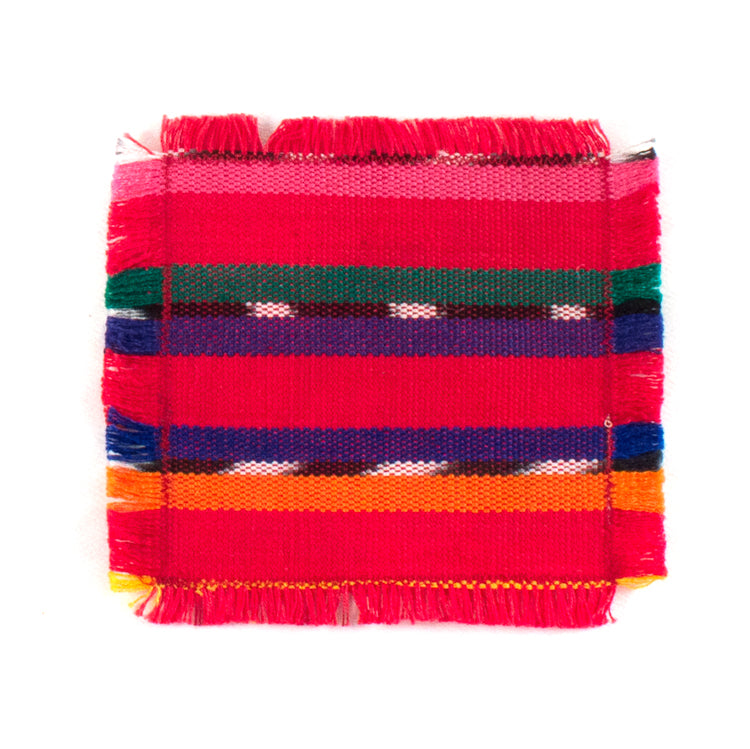 handwoven coasters, red with colorful acccents