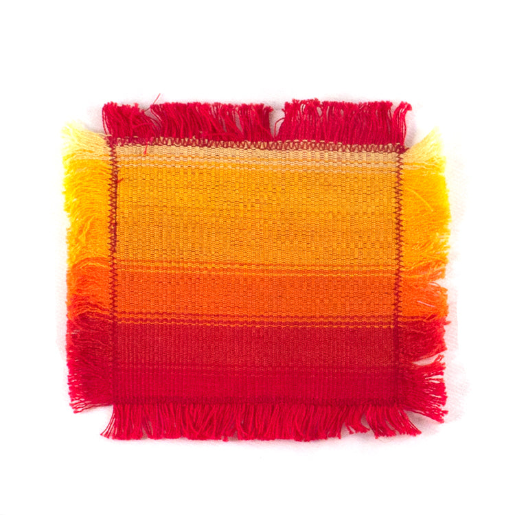 handwoven coasters, yellow and red stripe