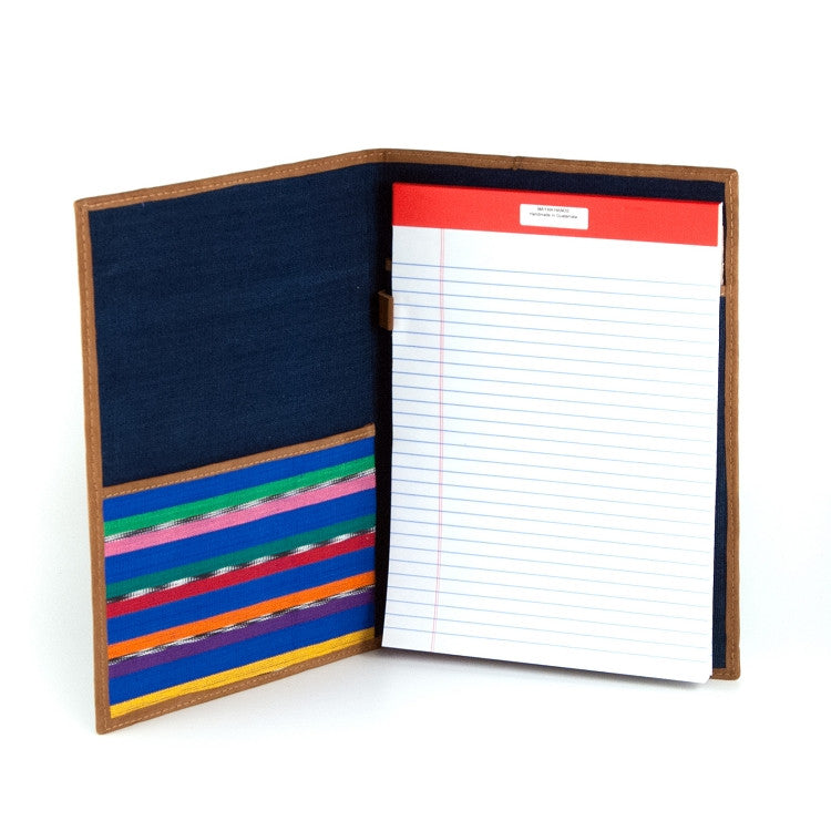 Handwoven notebook portfolio open