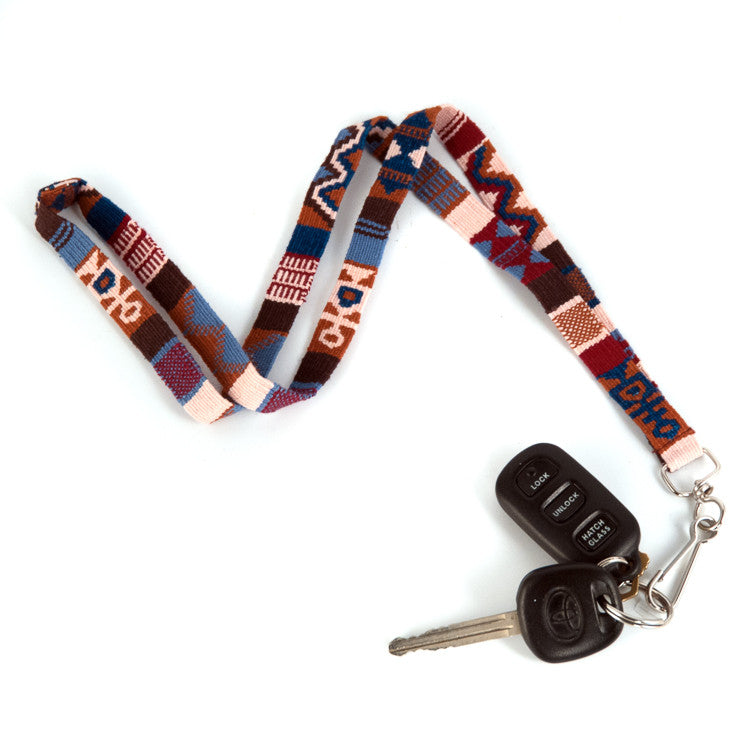 handwoven lanyard earth blue red earth tones