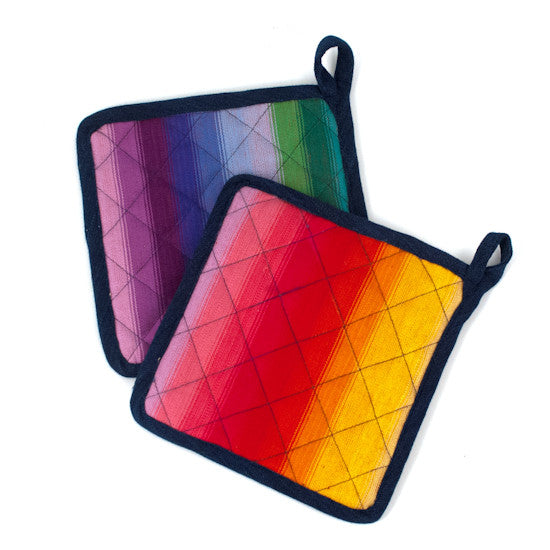 Two Rainbow Potholders