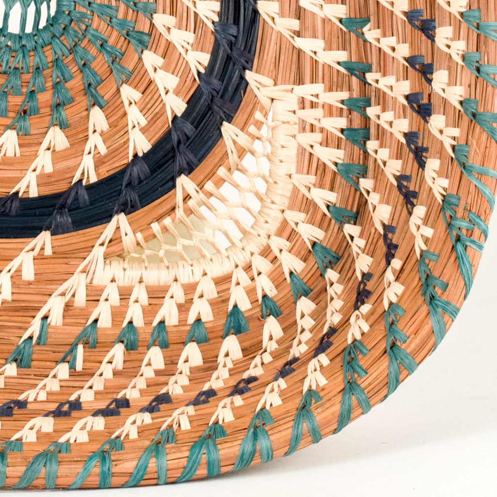 Square Pine Needle Basket with Blue Accent detail