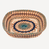Square Pine Needle Basket with Blue Accent alt view