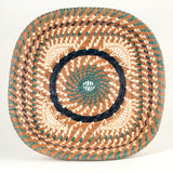 Square Pine Needle Basket with Blue Accent