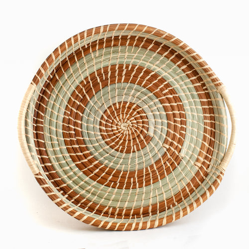 Wild Grass and Pine Needle Circular Tray Basket
