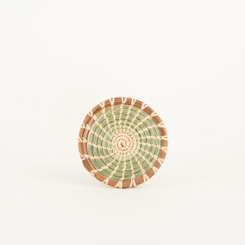 pine needle and sweetgrass coaster, set of 4, top view