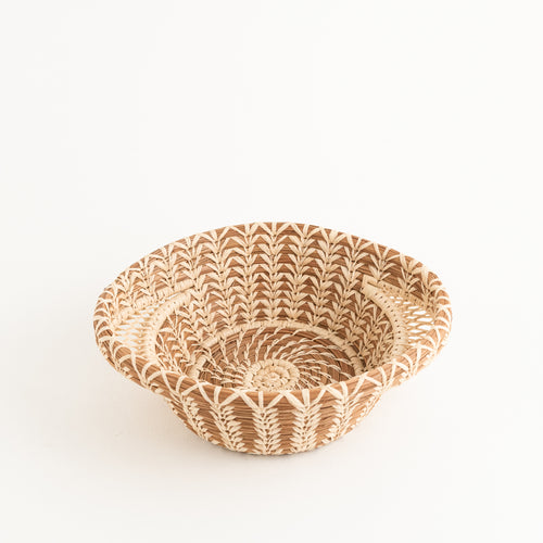 Small Pine Needle Basket with Lacy Handles