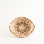 Small Pine Needle Basket with Lacy Handles top view