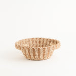 Small Pine Needle Basket with Lacy Handles side view