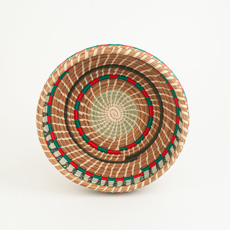 Pine Needle basket with red and green accents