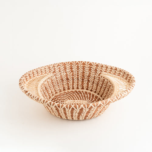 Pine Needle Basket with Lacy Handles
