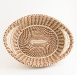 Large Pine Needle Basket with Lacy Handles top view