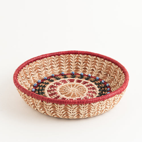 Pine Needle Basket with blue beads