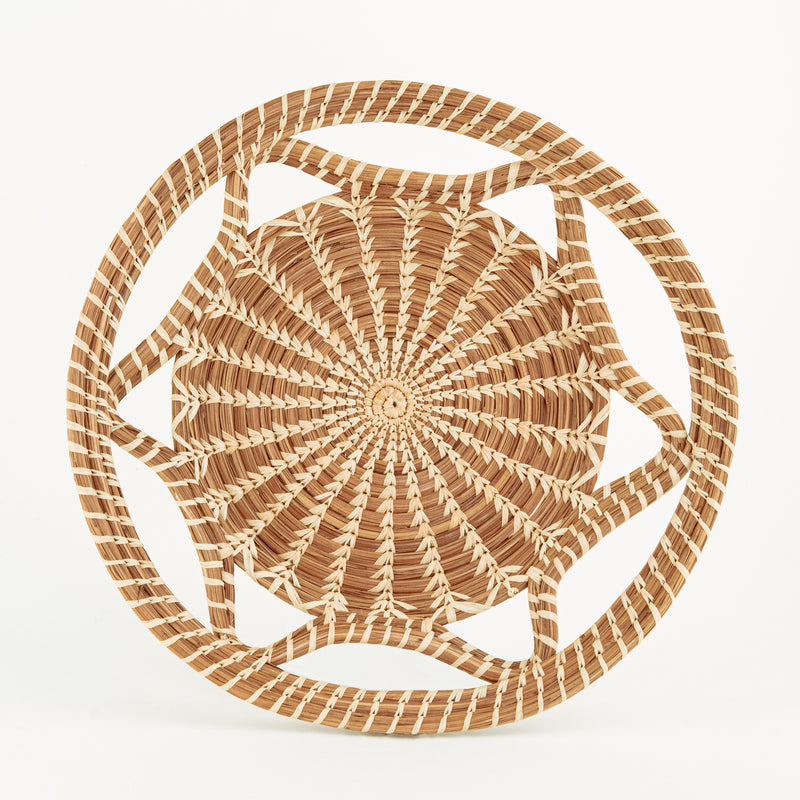 Pine Needle Basket with wavy side top view