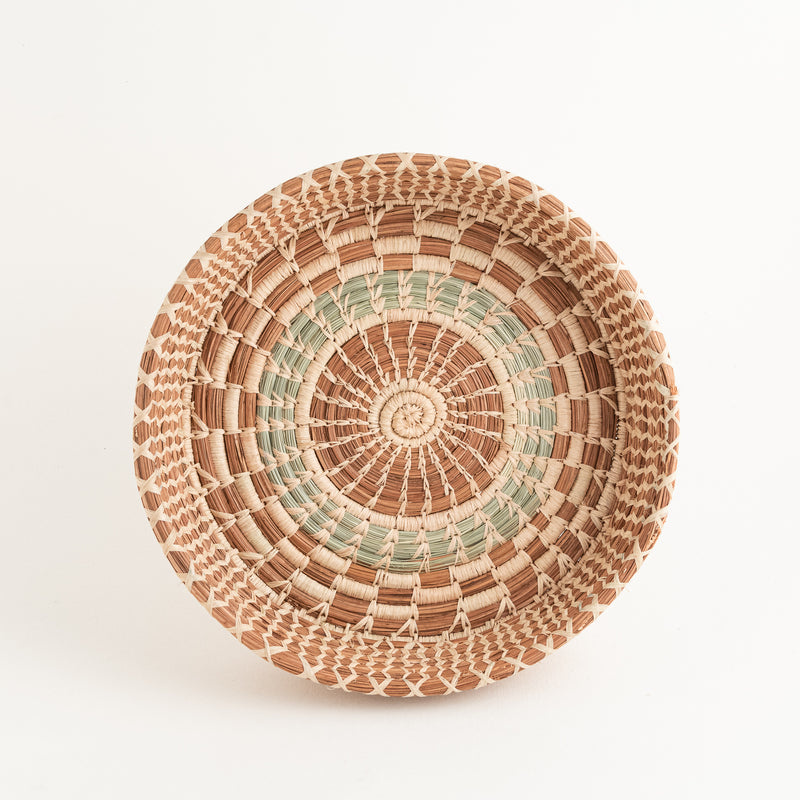 Checkered Pine Needle Basket natural raffia top view