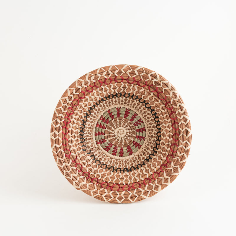 Colorful Pine Needle Bowl Basket top view