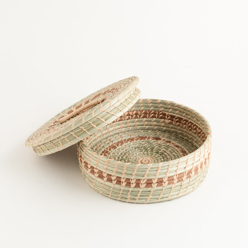 Wild Grass and Pine Needle Tortilla Basket showing lid off