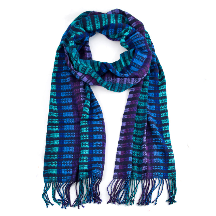 handwoven Abelina scarf shades of blue